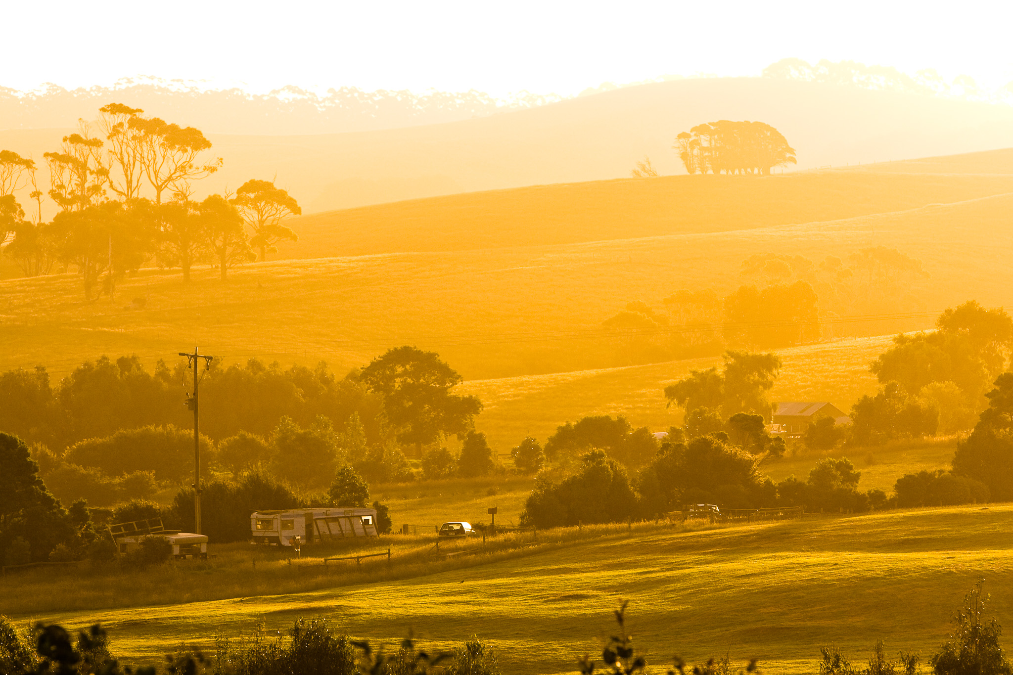 A golden sunset over rolling hills of Apollo Bay on Wednesday, 2nd January 2008. The outskirts of this coastal township are slowly being subdivided into housing estates. (Photo/Ben Loveridge)